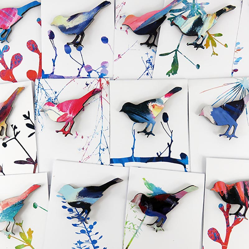 Flock of Bird Brooches