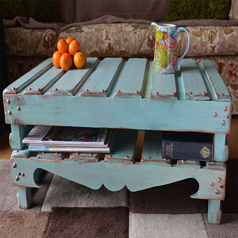 Rustic Reclaimed Wood Coffee Table in Duck Egg Blue & Copper Finish