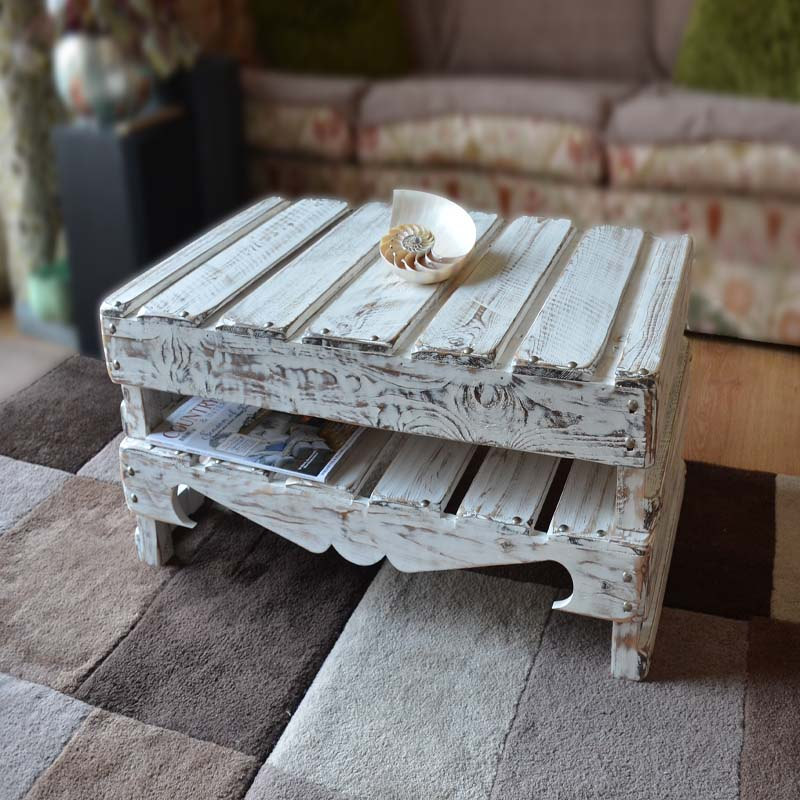 Rustic Reclaimed Wood Coffee Table in White Nautical Driftwood Style Finish