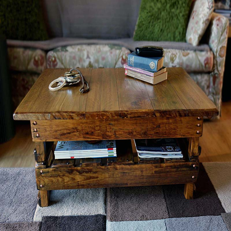 Rustic Country Cottage Style Coffee Table with Decorative Copper Tacks