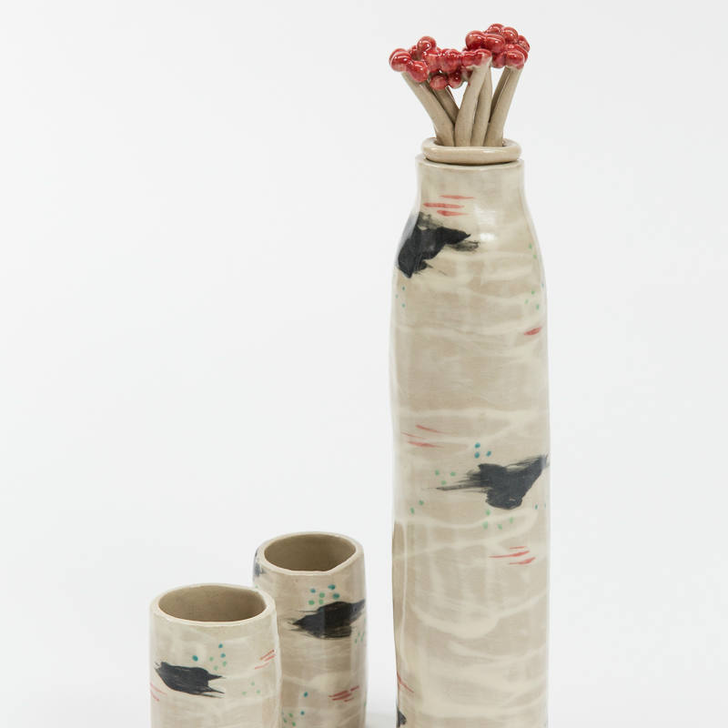 Birch bark flask and cups