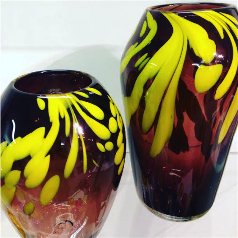 Brown and canary yellow vases