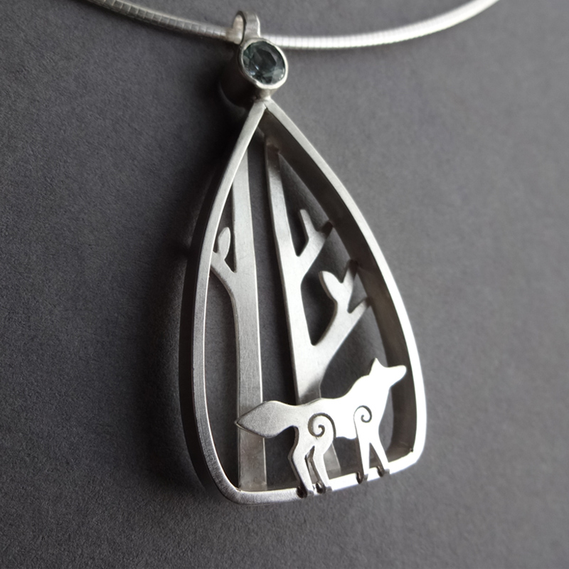 Wolf in the Winter Woods Pendant