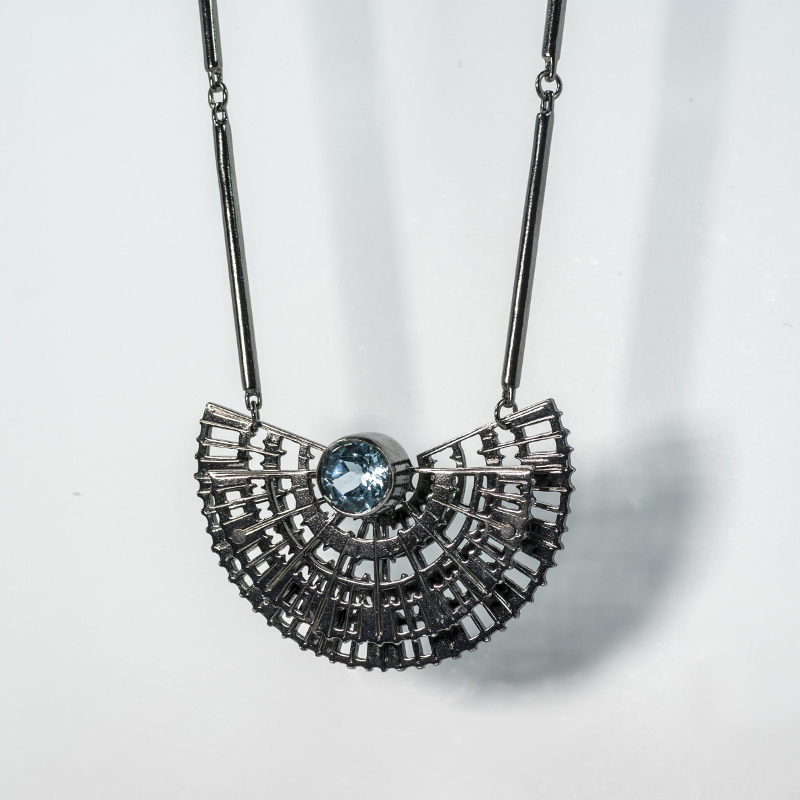 Black Rhodium Necklace with Topaz