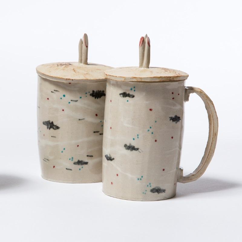 Birchbark cups with lids