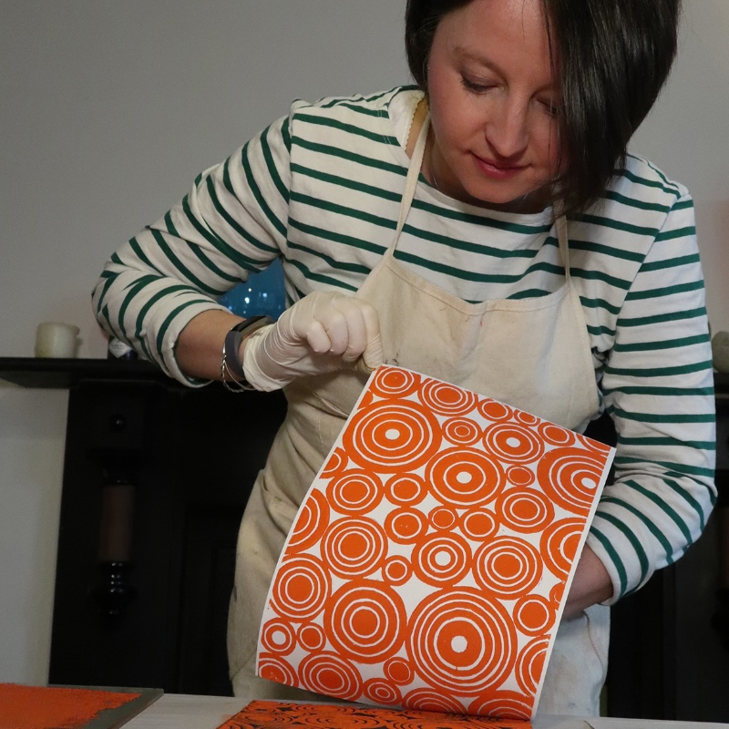 Lino Circles in Orange