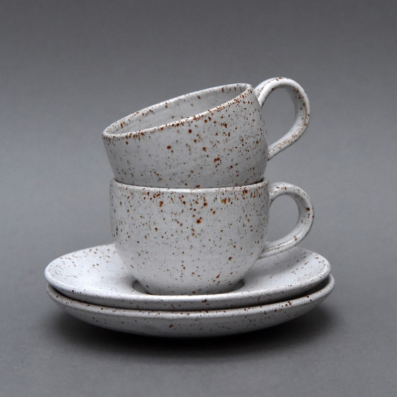 Speckled Cups and Saucers