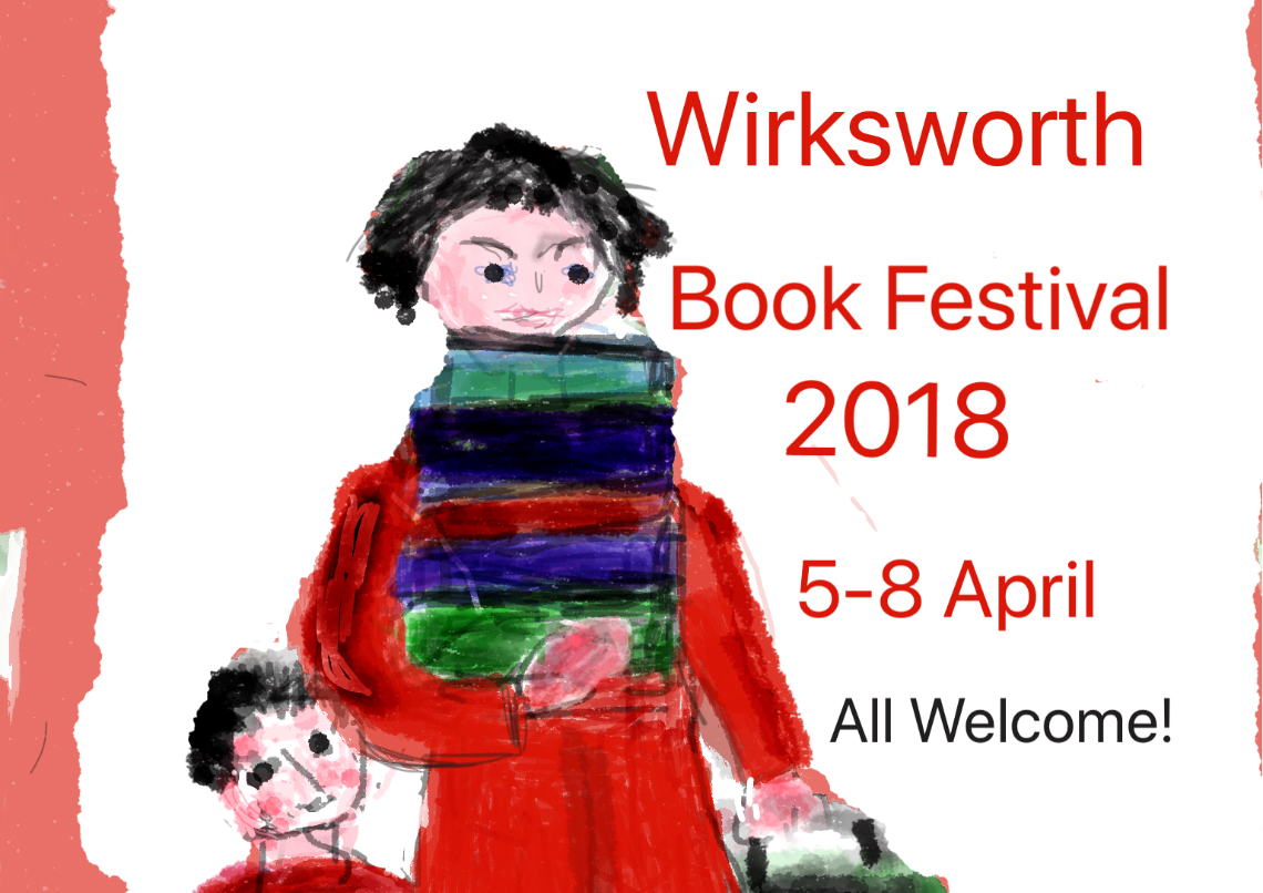 Wirksworth Book Festival 2018 image of lady carrying books sketch