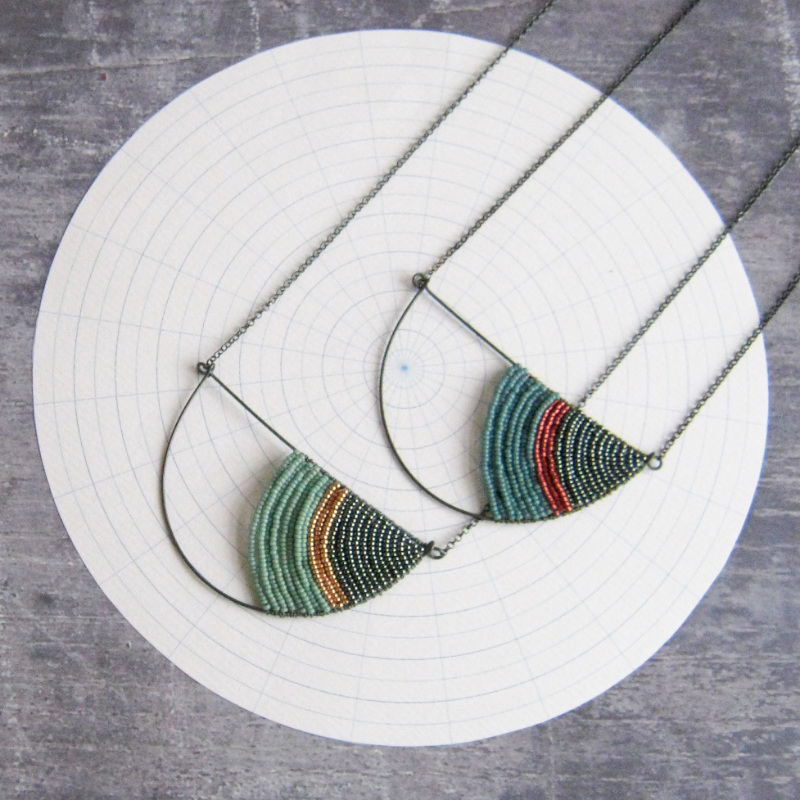 Large Geometric Semi Circle Necklaces