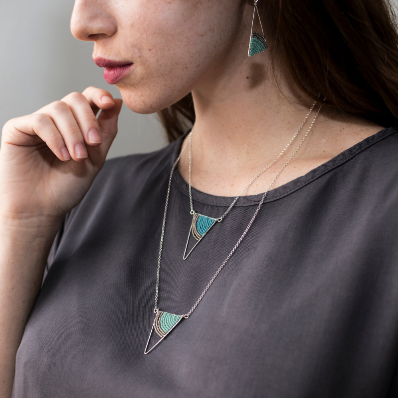 Geometric Silver Triangle Necklaces and Earrings