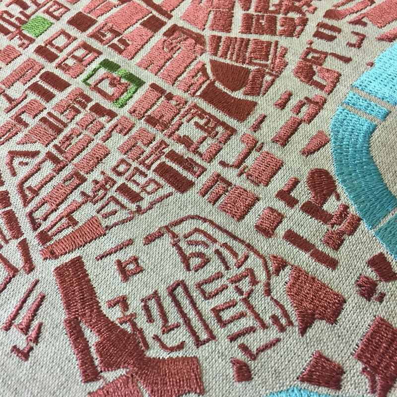 Embroidered urban townscape