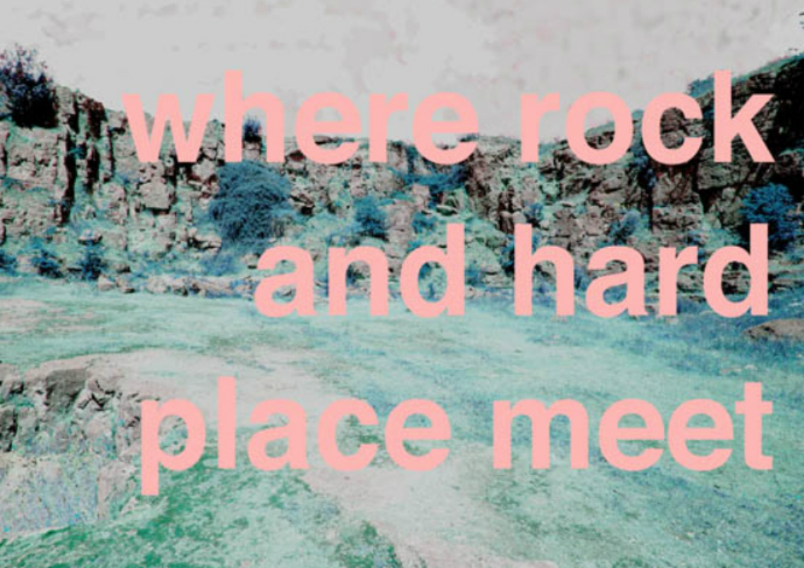 Exhibition poster for Where rock and hard place meet