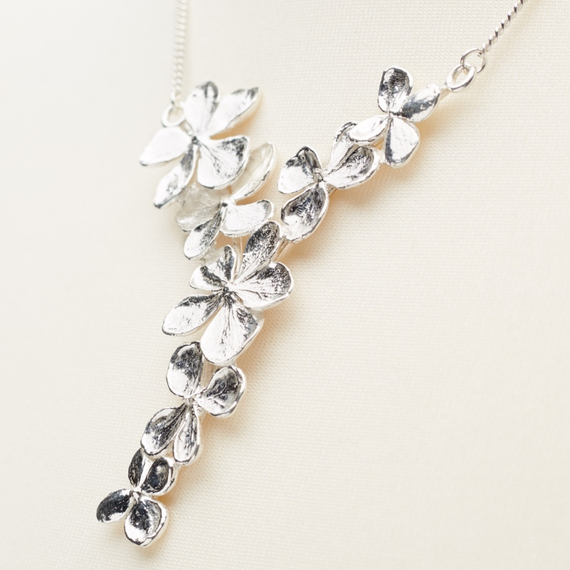 Silver Hydrangea Pendant on adjustable chain