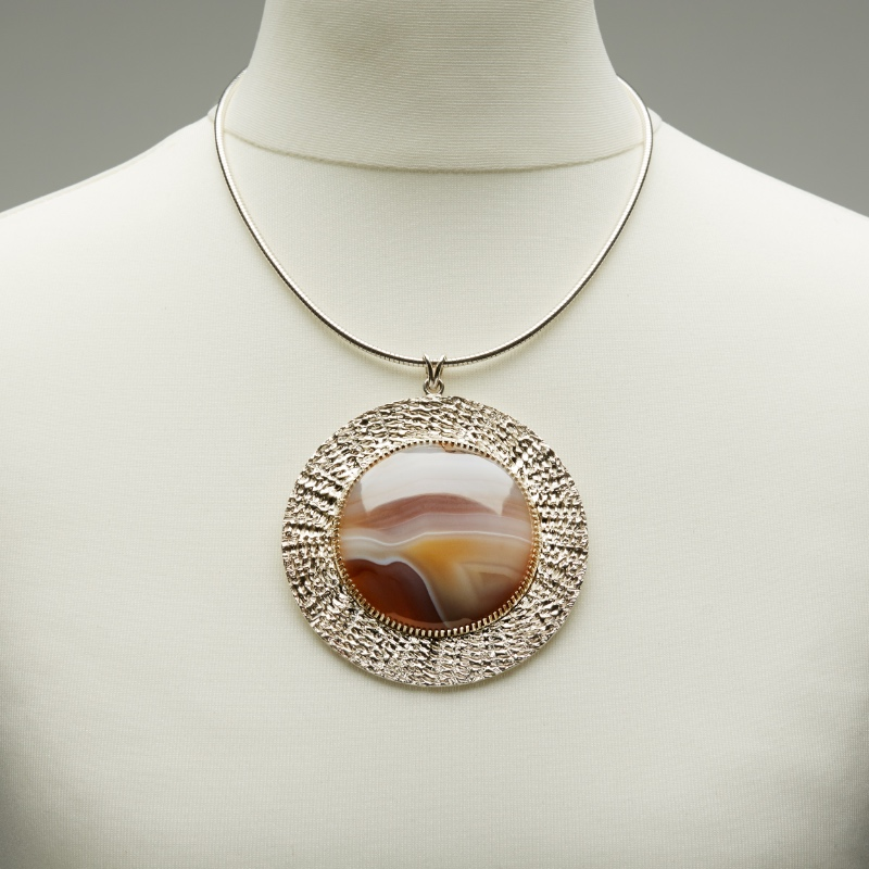 Botswana Agate and Silver textured Pendant