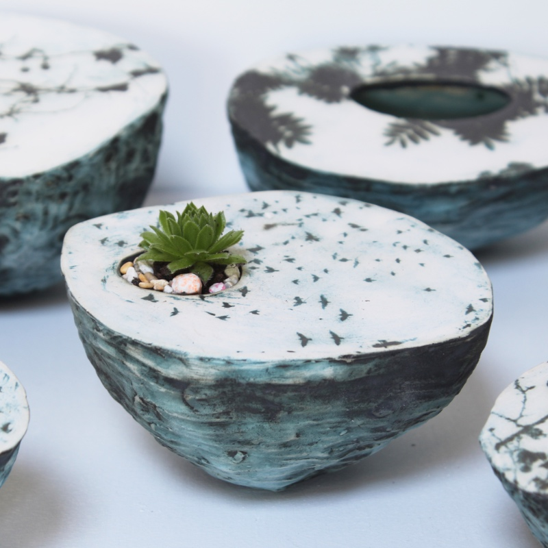 'Murmurations' pebble planter