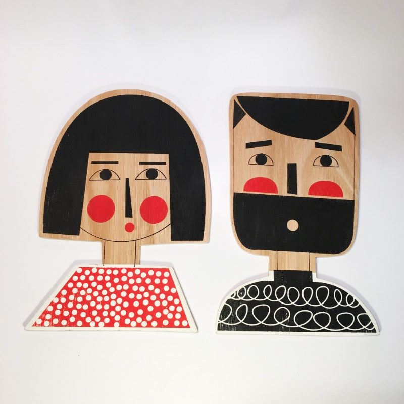 Dotty Bob Girl and Woolly Jumper Man Wall Plaques
