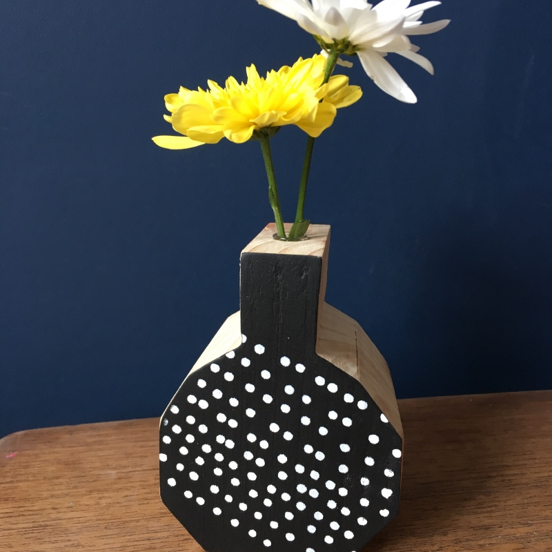 Hand Screen Printed Wooden Bud Vase