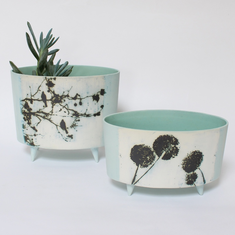 'Birds in the trees' oval vessel & 'Alliums' low oval vessel with feet