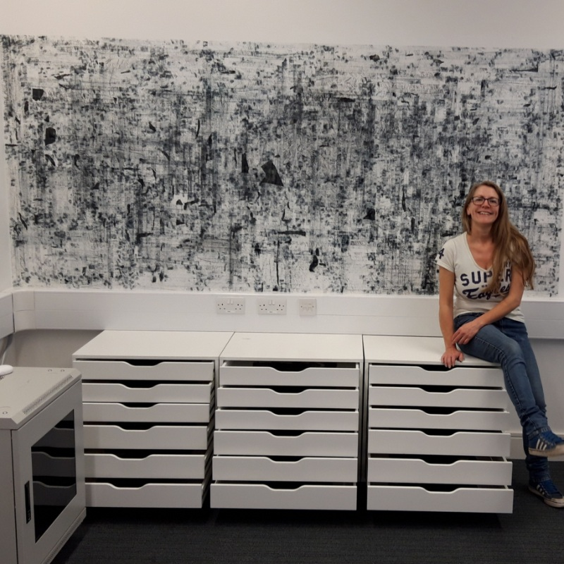 500 metres of cellotape, 18 sheets of used carbon paper – displayed in 3 sets of drawers (18 drawers), 11 hours, 2019,
