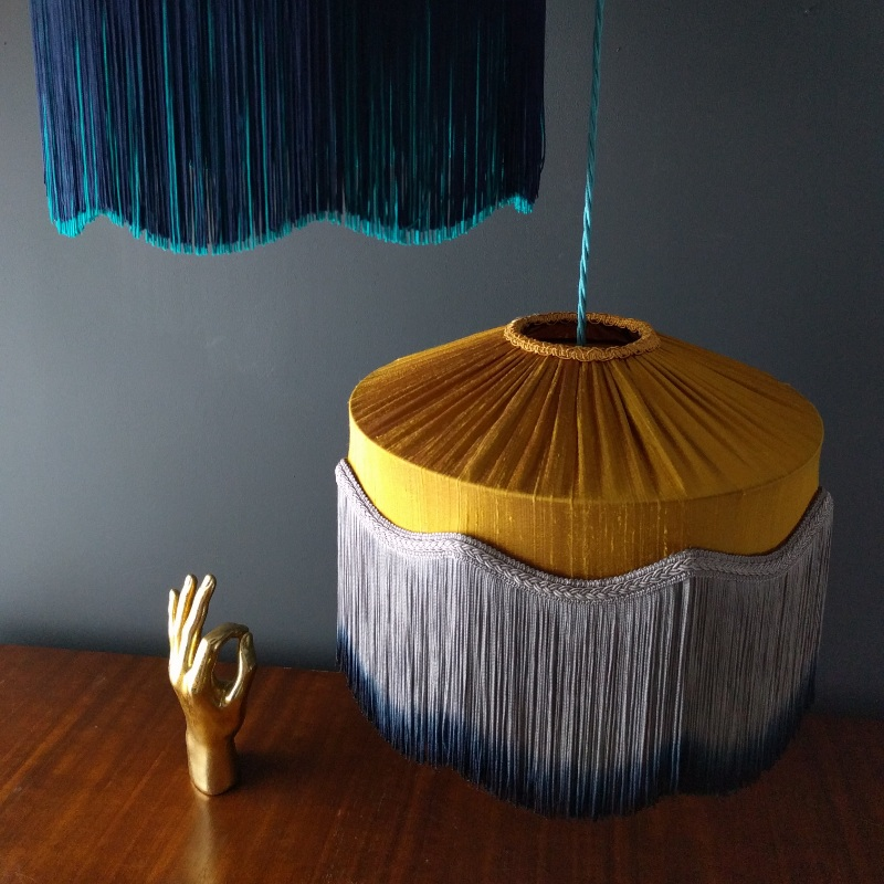 Tiffany Silk Lampshade in Mustard with hand dipped tassels.