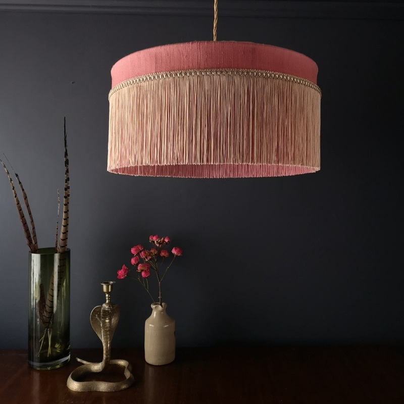 Tiffany Silk Lampshade in Coral with two tone tassels.